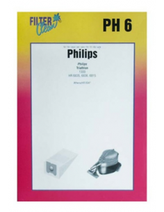 Vacuum Cleaner Dust Bags PH6 PHILIPS Thriathlon 4 pcs.+ 2 Filters