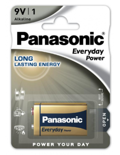 PANASONIC Everyday Alkaline Battery 9V 6LR61 PP3, 6LR61EPS/1BP