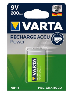 VARTA Rechargeable Battery 6HR61 6F22 9V 200mAh, 56722101401