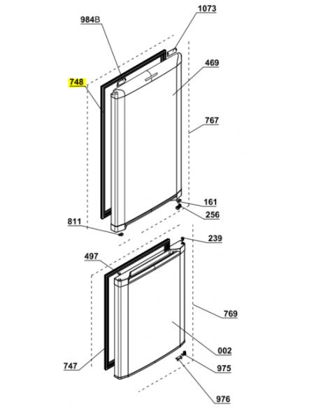 Refrigerator Door Seal 915x525mm BEKO, 4546860500